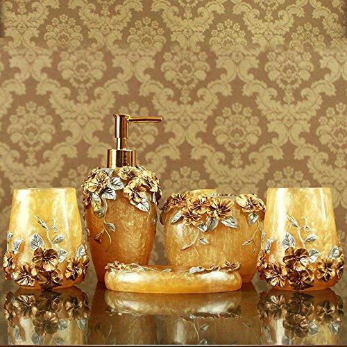 LINA@ Bagno stile europeo lusso romantico Manor nobile resine-giallo con cinque pezzi di copertura
