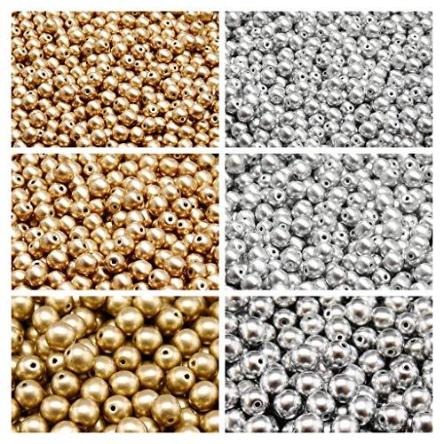 Gepresste tschechische Glasperlen, Runde 3 mm, 4 mm, 6 mm, Zwei Farben. Set 2CRP 602 (3RP113 3RP112 4RP008 4RP007 6RP1174 6RP1335) -