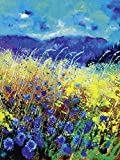 Artland Qualitätsbilder I Poster Kunstdruck Bilder 60 x 80 cm Botanik Blumenwiese Malerei Blau C1WN Blaue Wilde Blumen