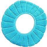 Xiton 1 STÜCK Badezimmer Weichen Dicker Wärmer Dehnbar Waschbar Tuch Wc-sitzbezug Pads (Blau)
