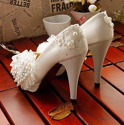 JINGXINSTORE Tacco a spillo con tacco alto da sposa principessa White Love Bead bianca