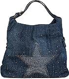 styleBREAKER bolsa vaquera con estrella de estrás centelleante, remaches de estrás, bolso de hombro, bolso para compras, de señora 02012085, color:Azul oscuro