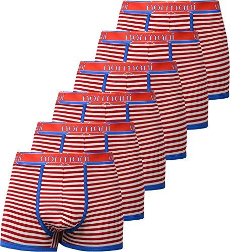 6 x normani® Herren Style Boxershorts aus Baumwolle mit Elasthan im 6er Pack Red Cross