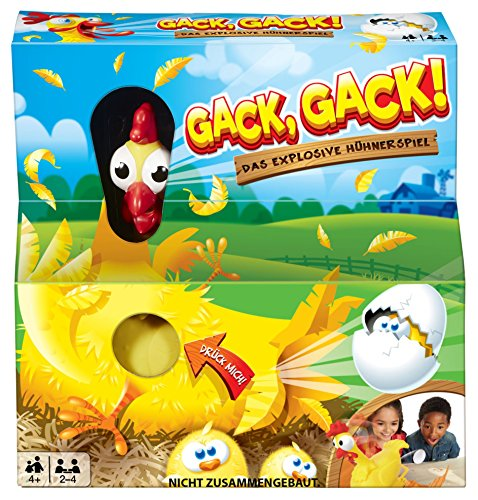 Mattel Games FRL48 - Gack, Gack!, lustiges Hühnerspiel geeignet für 2 - 4 Spieler, Spieldauer ca. 15 Minuten, Kinderspiele ab 5 Jahren (Spielzeug Huhn)