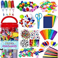 1000PCS Arts and Crafts Supplies for Kids Toddler DIY Art Craft Kits Crafting Materials Toys Set for School Home Projects Craft Supplies with Pipe Cleaners for 4 5 6 7 8 9 10-Year-Old Boys Girls
