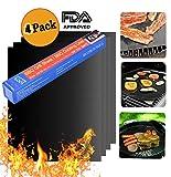CASETOP Grillmatte (4er Set), 100% Antihaft-Grill & Backmatten - FDA-Geprüft, PFOA Frei, Wiederverwendbar und leicht zu Reinigen - Funktioniert mit Gas, Holzkohle, Elektrogrill und mehr -15.8''x13 ''