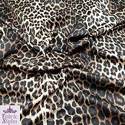 Fabric Styles FS005_1 - Tela de Neopreno elástica diseño de Leopardo (por Metro), marrón, 1 m