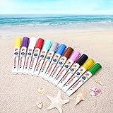 Marker Permanent QHUI,12 Farben Oil Based Art Filzstift Wasserfeste 6mm Präzisionsspitze,3 Metallic Marker Pens und 9 Wasserdichte Farben