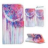 Galaxy J5 Hülle Rosa Schleife® PU Ledertasche Handyhülle Case für Samsung Galaxy J5 2015 mit Magnetverschluss Flip Cover Bookstyle Wallet Ständer funktion Etui - Painted Muster