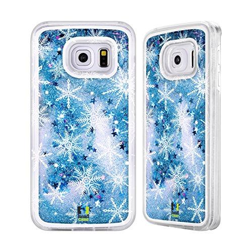 Head Case Designs Schneesturm Winter Drucke Himmelblau Handyhülle mit flussigem Glitter für Apple iPhone 6 / 6s Schneeflocken
