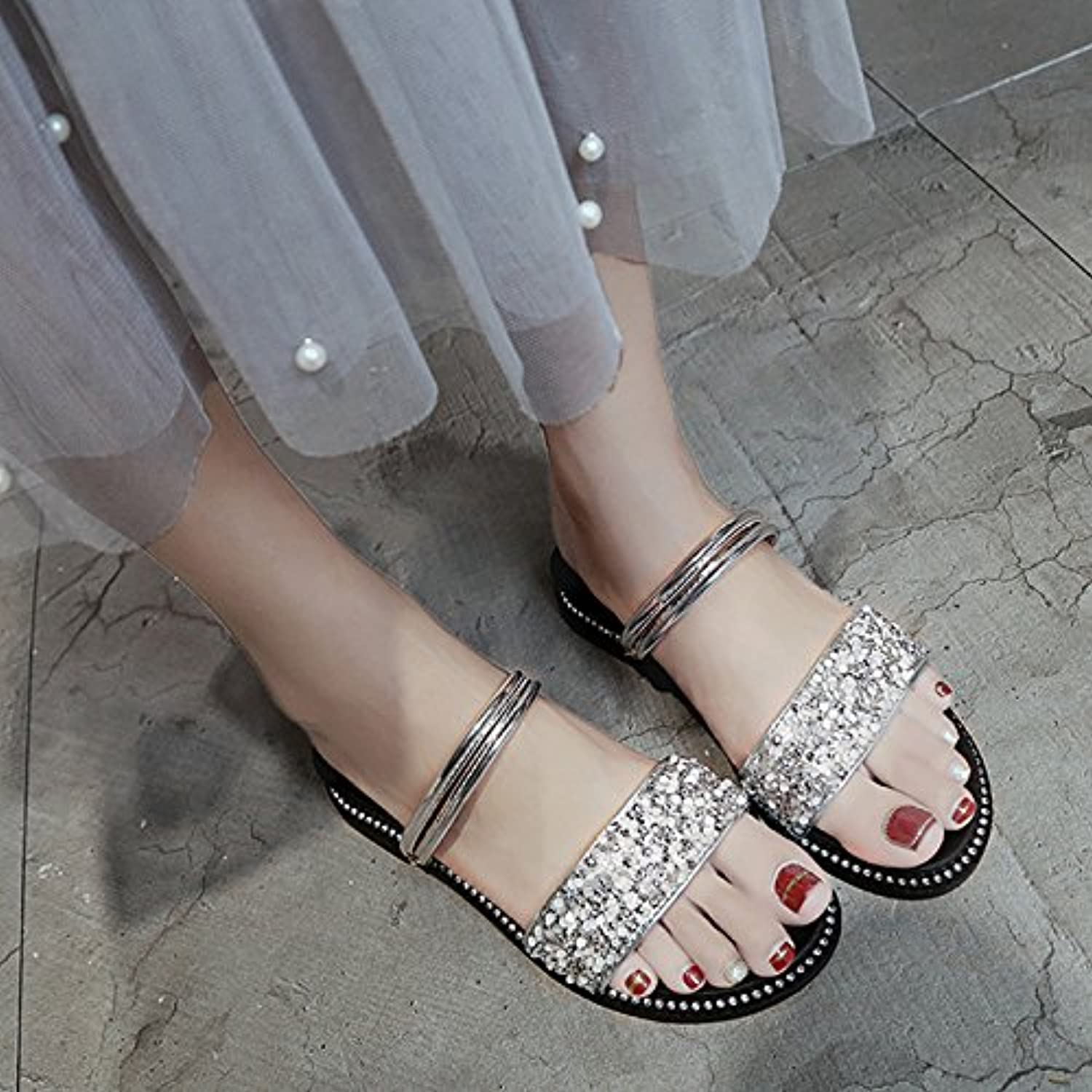a2d46923db732 GAOLIM Summer Sandals Women Flat-Bottomed Girls Water Water Water Drill  Simple And Versatile Two Wear Beach Shoes B07CFQHH2X Parent 15357d