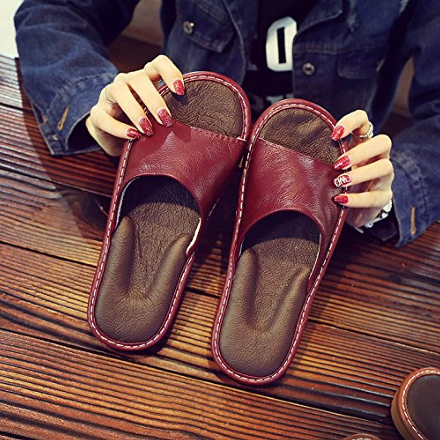 fankou Slippers Female Summer Home Home Interior Wooden Floor Men's Silent Couples Air Cool Slippers,41-42, Wine...