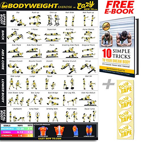 Eazy How To Bodyweight Exercise Workout Banner Poster BIG 51 x 73cm Train Endurance, Tone, Build Strength & Muscle Home Gym Chart