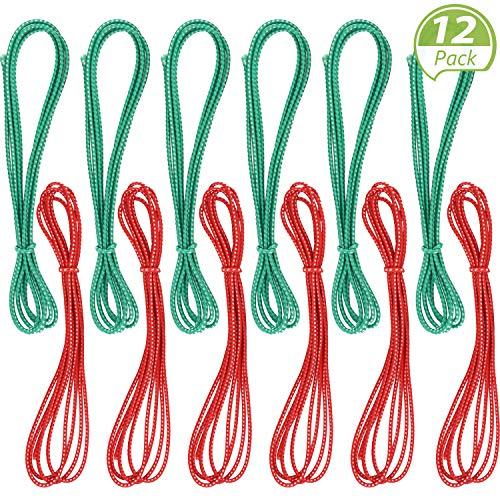 Gejoy 79 Zoll Chinesisch Springseil Rot und Grün Chinesisch Springseil Strecken Seil Elastische Fitness Springseil Outdoor Übung (12 Pieces)