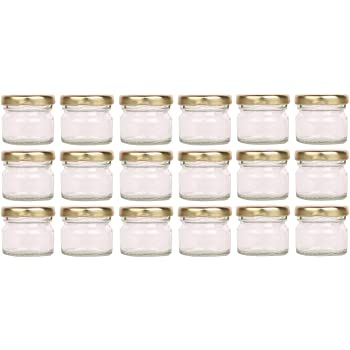 Favola Glass Small Jar with Airtight and Rust-Proof Cap, 30 ml, Set of 18, Clear