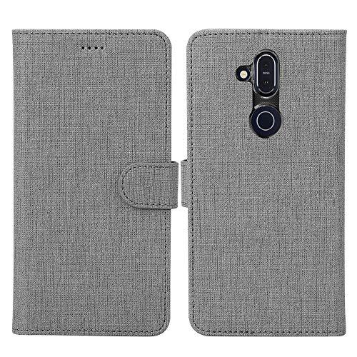 Feitenn Ersatz für Nokia 8.1 Hülle, Premium PU Leder Tasche Wallet Flip Case Schutzhülle mit Kartenfächer Standfunktion PU Cover TPU Bumper Magnetisch Stand Cover Case für Nokia 8.1 (grau)