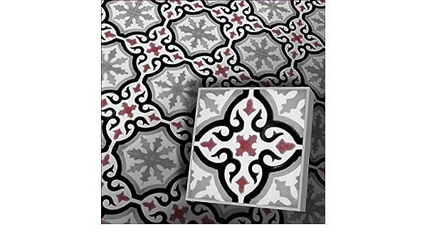 Zementfliesen Iraquia creme gr/ün rot Muster Stein/öl