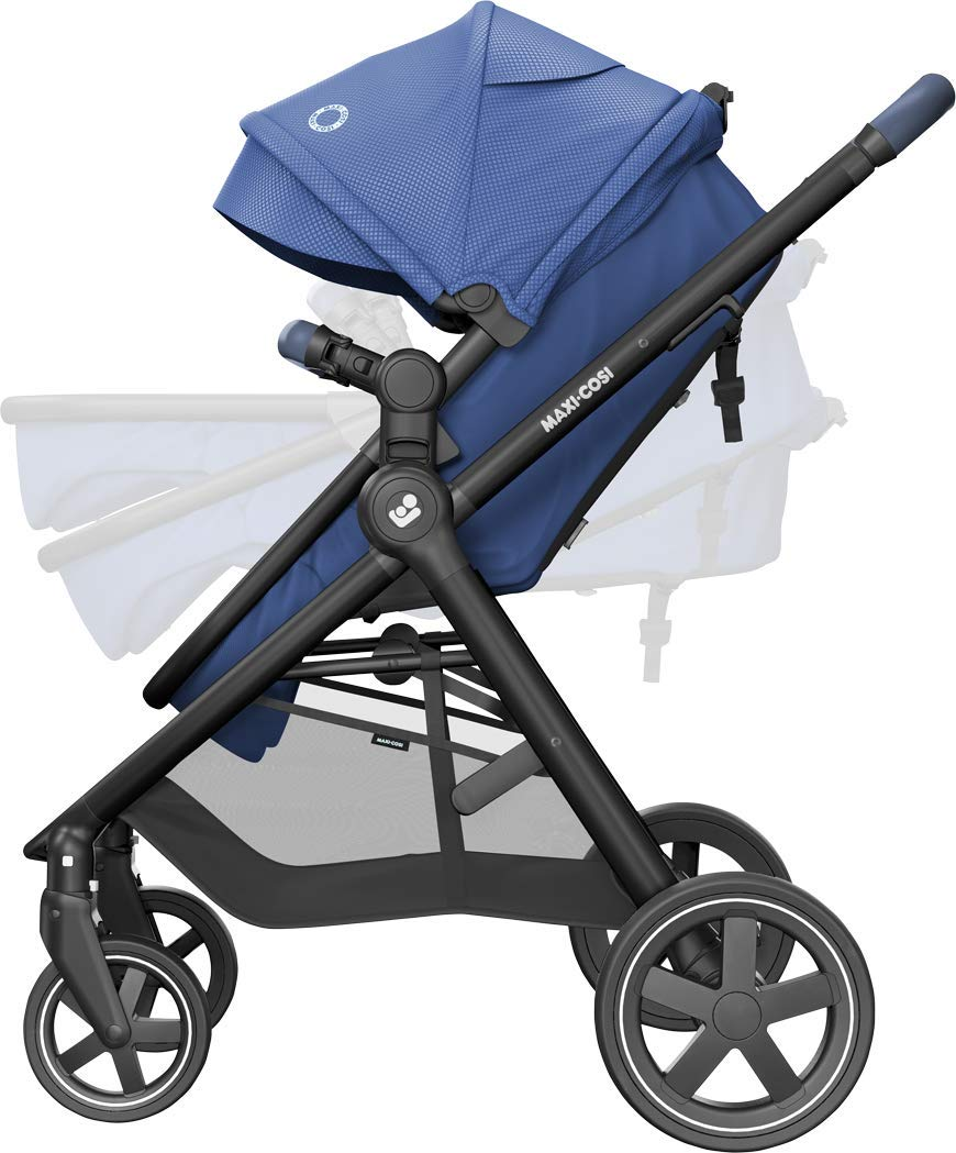 Maxi-Cosi Zelia Baby Pushchair, Lightweight Urban Stroller from Birth, Travel System with Bassinet, 15 kg, Essential Blue Maxi-Cosi Flexible stroller from birth to 3.5 years 2-in-1 seat unit: zelia's seat transforms into a pram bassinet for use from 0 - 12 m in a single movement This city stroller is easy to carry thanks to its lightweight 7