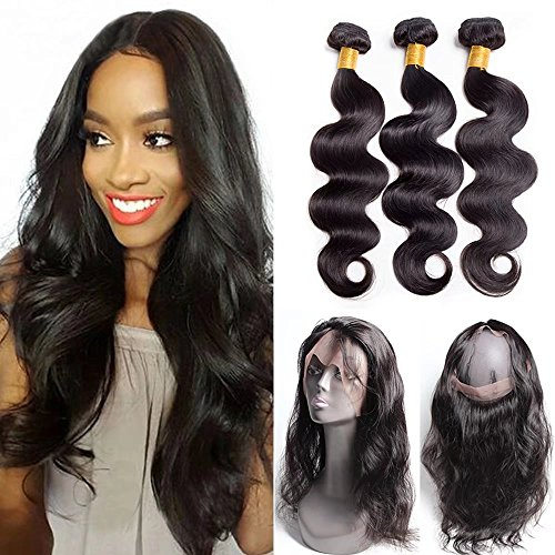 Maxine Hair Malaysian Body Wave with 360 Frontal 9A Grade Natural Body Hair Bundles Virgin Human Hair Extensions with 360 Free Part Lace Frontal Closure Natural Color (20 20 20+18 inch)