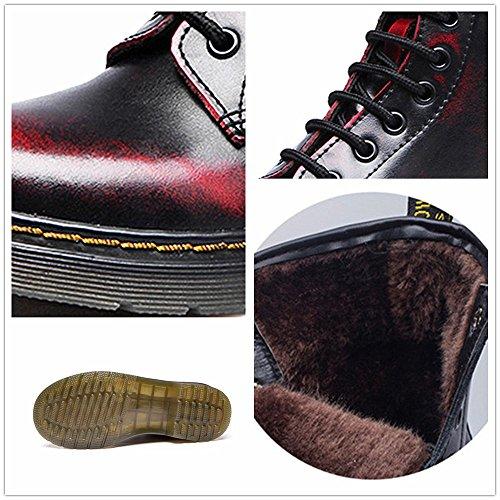 SITAILE Unisex-Erwachsene Bootsschuhe Derby Schnürhalbschuhe Kurzschaft Stiefel Winter Boots für Herren Damen Gefüttert Schwarzrot