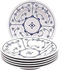 Kahla 16G112A75019H Blau Saks blauweiß Teller-Set Porzellan 6 teilig Suppenteller 6 Person Blumendekor Tiefe Teller rund Nudelteller