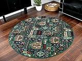 Orient Teppich Empire Grün Rund in 7 Größen, Größe:100 cm Rund
