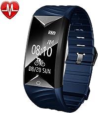 YAMAY Fitness Armband, Fitness Tracker mit Herzfrequenz Wasserdicht IP67 Smart Watch Pulsuhren Aktivitätstracker Schrittzähler Armbanduhr,Schlafanalyse,Kalorienzähler Anruf/SMS für iOS Android Handys