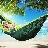 UBEGOOD Camping Hängematte Ultraleichte Nylon Atmungsaktiv, schnell trocknende Portable High Strength Camping Hängematte für Outdoor Camping Strand Hängematte (Fruchtgrün und dunkelgrün)