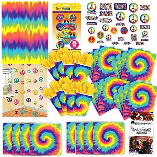 ppie Rainbow Party Set XL 80-teilig für 8 Gäste 60ies Deko Partypaket ()