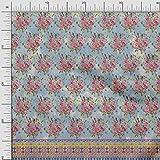 Soimoi Blau Rayon Krepp Stoff Schmetterling, Blätter &