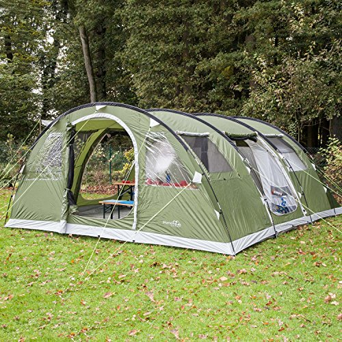 Skandika Gotland Group or Family Tunnel Tent with Sewn-In Groundsheet, Green, 6 Persons