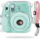 Katia Instant Mini 9/ 8+/ 8 Film Camera Crystal Shining Case With Shoulder Strap For Fujifilm Instax Mini Camera (Shining Transparent)