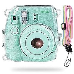 Katia Kamera Hard Case Tasche für Fujifilm Instax Mini 9 Instant Kamera, auch für Fujifilm Instax Mini 8 Sofortbildkamera mit Strap - Glänzend Transparent