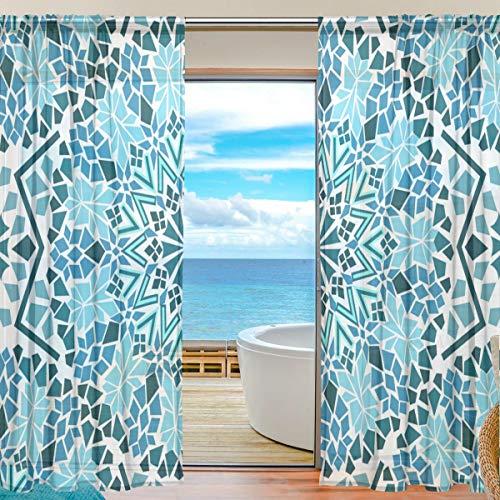 TIZORAX Vorhang mit marokkanischem Mosaik-Muster, durchsichtig, Polyleinen-Voile-Vorhang, Gardinenstange für Wohnzimmer, Schlafzimmer, 139,7 x 19,8 cm, 2 Paneele, Polyester, Multi, 55