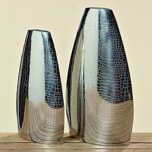 Bella-Vita Dapo Wunderschöne Deko Vase Lucin H33cm Edelstahl vernickelt Dekovase Bodenvase Skulptur