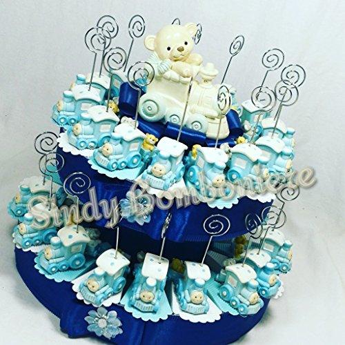 Torta bomboniera per nascita battesimo compleanno clip trenino elefante orsetto porta messaggio bambino (torta da 35 fette + centrale)