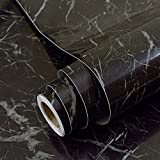 Sintética de mármol negro papel de contacto adhesivo vinilo película Peel y Stick mármol estante maletero para encimera de cocina gabinetes Backsplash