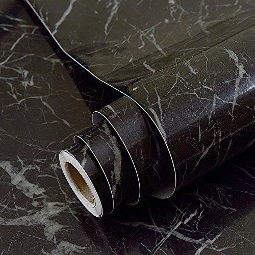 imitation Marbre noir Contact papier dos adhésif vinyle film Peel et bâton Marbre étagère Liner pour comptoir de cuisine Armoires pour Dosseret Crafts projets ( 60 x 300 cm)