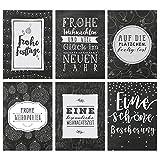 Weihnachtskarten Set schwarz-weiß Tafel - 12 liebevoll gestaltete Postkarten zu Weihnachten - Grußkarten Set Weihnachtspostkartenset - von Papierdrachen