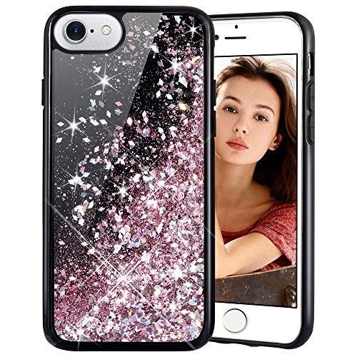 Cover iphone 6/7/8 glitter liquido,hweggo brillantini custodia 3d bling sparkle antiurto tpu silicone gel protettivo cover per iphone 6/7/8 4.7 (oro rosa)