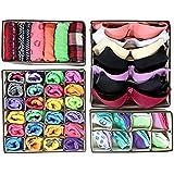 Fablcrew sous-vêtements Boîte de Rangement Pliable Closet organiseurs Soutien-Gorge sous-vêtements séparateurs de tiroir 4pcs