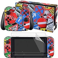 eXtremeRate® Adesivi Completi per Decalcomanie Della Pelle Frontale per Nintendo Switch Joy-con Protezione a Schermo da 2 pollici (Console & Joy-con & Dock & Grip) - Segno di Spesa