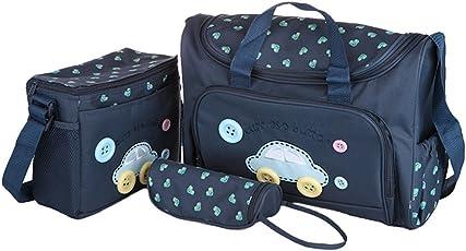 Xectes 4 in 1 Baby Diaper Bag Nappy Mummy Bag Print Maternity Handbag Changing Baby Messenger Bag Multi Colour