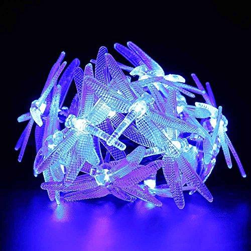 lederTEK Solar Lichterkette 4,8m 20 LED 8 Modi Großlibellen Außenlichterkette Wasserdicht mit Lichtsensor Weihnachtsbeleuchtung, Beleuchtung für Haushalt, Außen, Garten Hochzeit, Weihnachten (blau) - Bild 3