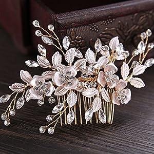 GUT® Rose Gold Hochzeit Haarspange für Frauen Kristall Simulierte Perle Braut Haar Kamm Haarnadel