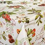 ANRO Wachstuch Wachstischdecke Tischdecke abwaschbar Beeren Weiß 160 x 140cm