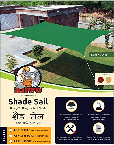 Hippo Sun Shade Sail - (80-85%) Sun Blockage - Green Colour - 9.5 X 13.0 ft With Ss Hook & Rope