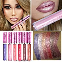 6pcs/set Sexy purpurina Lip Makeup Agua Densidad brillante Lip Gloss Lipstick Nude Glitter Brillo Pintalabios