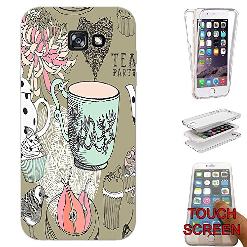 001377 - Cool Fun Trendy Cute Kawaii Shabby Chic Tea Party Flowers Cup Cake Design Samsung Galaxy J5 (2017) SM-J530 Fashion Trend Silikon Hülle Komplett 360 Degree Protection Flip Schutzhülle Gel Rubber Silicone Hülle (Tea-party-cupcakes)