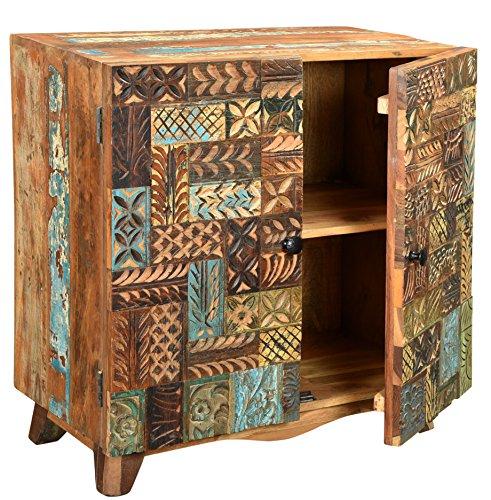 The Wood Times Kommode Schrank Massiv Vintage Look Agra Holz FSC Recycelt, BxHxT 110x80x40 cm - 2